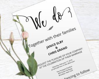 We Do Wedding Template, Wedding Invitation Template, Wedding Invitation Printable, Editable Invitation, Instant Download, PDF, #HQT009_1