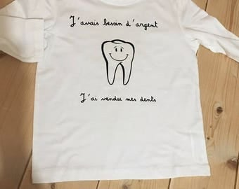 T-shirt sleeve long mixed tooth