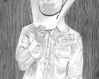 "Giclée Print ""Howdy Ma'am"" Cowboy drawing"