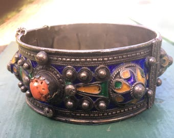 Antique Morrocan Berber Silver Bangle Bracelet With Coral Stone