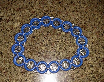 Blue and silver single middle link helm chain bracelet
