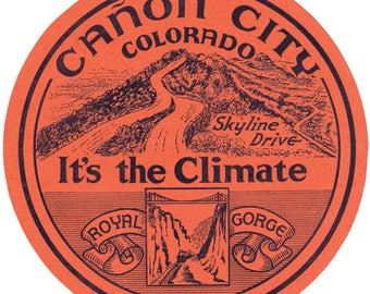 Vintage Style Canon City Colorado  Snow Skiing Royal Gorge   Travel Decal sticker