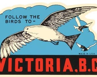 Vintage Style Victoria BC Canada  Travel Decal sticker