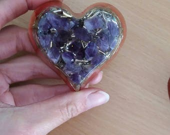 Amethyst Orgone heart perfect for love