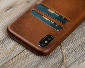 Brown iPhone X Wallet Case, strong leather iPhone X Case, Leather iPhone X Wallet Case, iPhone X case leather Burnished brown Leather