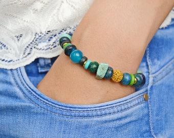 Bracelet, vegan bracelet, Bracelet Chrysocolla, sodalite, amazonite, turquoise pressed, agate, wooden beads, jewelery