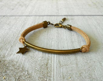 Bronze way bracelet Bangle, suede and Star