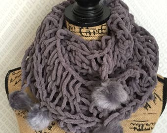 SCARF SNOOD knit airy and rabbit PomPoms