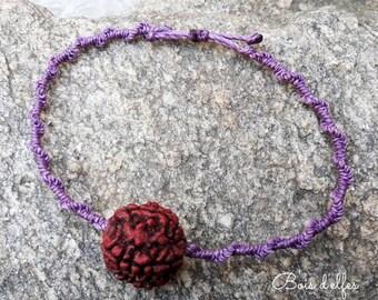 Rudrashka seed purple macrame bracelet