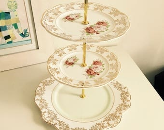Vintage China 3 Tier Cake Stand, Floral, Gold, Zena