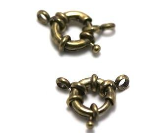 2 buoys 13 mm bronze clasps