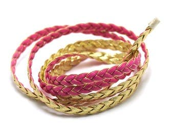 1 m cord strap braided 7 x 2 mm pink faux leather, fuchsia/gold