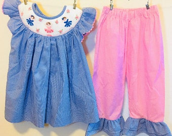 Girl Smocked Dress and Ruffle Pants, Ballerina Smocked Dress, Girl Smocked Dress