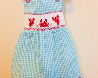 Lobster Smocked Dress, Summer Smocked Dress, Valentines Smocked Dress, Smocked Strap Dress, Girls Smocked Dress