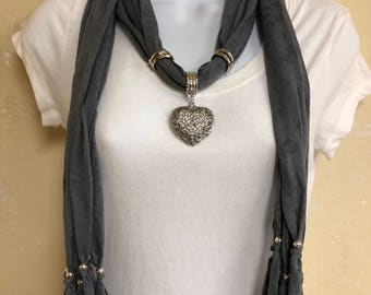 Light Weight Gray Jewelry Scarf with a Rhinestone Heart Pendant