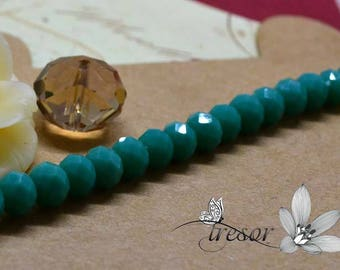 Lot 100 a string of pearls, glass, Crystal, faceted, luster, 6x4mm rondelle