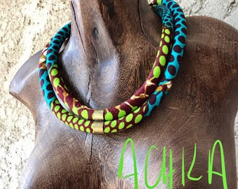 DOUBLE NECKLACE WAX green/blue