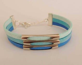 Gradient Blue Suede MULTISTRAND bracelet
