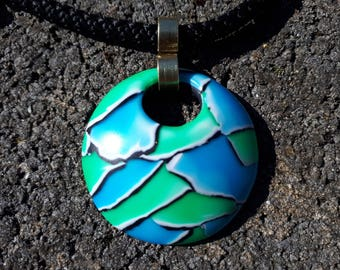 """Pendant fimo """"Watercolor mosaic"""" green and blue translucent"""