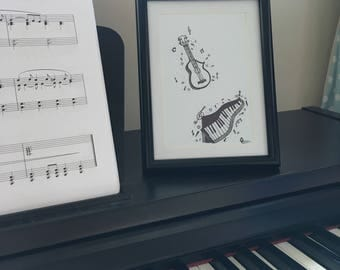 musical instruments art print