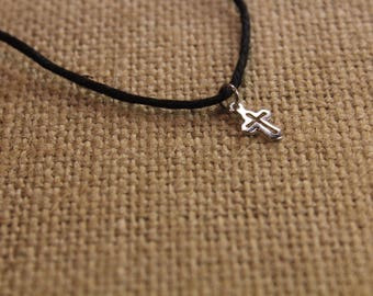"Dainty Cross Charm Black Hemp  Cord Necklace 18"""