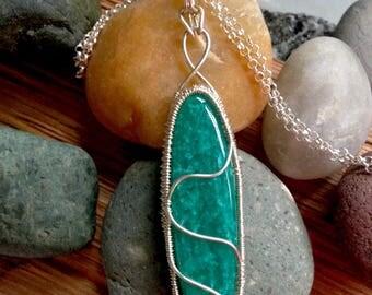 Handwoven Fine Silver Amazonite Pendant