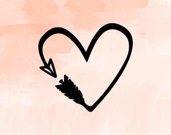 Arrow Heart Svg Etsy