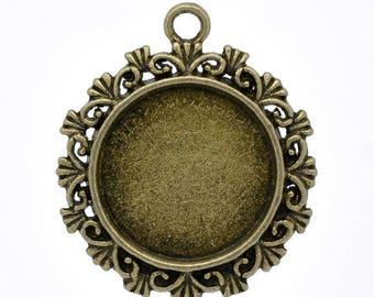 antique set of 10 20 mm bronze Cabochon pendant holder
