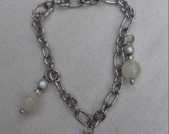 White and ivory enamelled silver bracelet