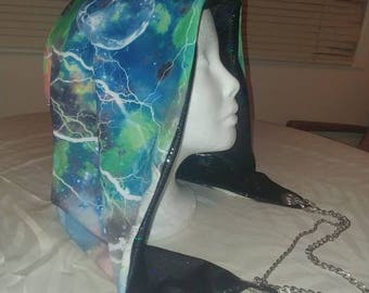 Holographic Galaxy Print Reversible Chained Festival Hood - blue green black  - stash pocket - burning man electronic music rave fashion