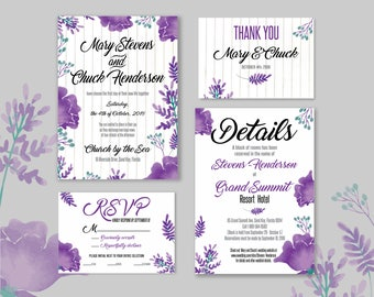 Floral Wedding Invitation Set, Printable Lavender Wedding Suite, Nature Wedding