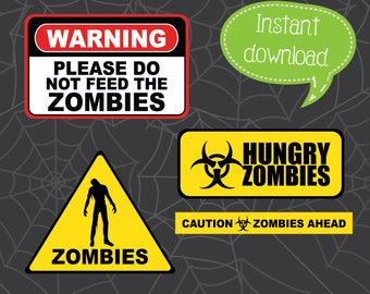 Zombie Warning Signs, Zombie Clipart, Zombies, Zombie Cut Files, Cricut Cut File, Silhouette File, Cuttables, Halloween Cuttables