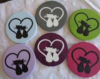 Set of 6 coasters, Valentine's day