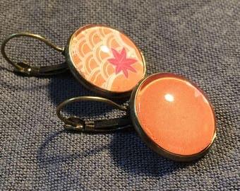 Earrings cabochon * round * bright Orange