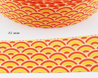 Fan yellow & orange 25 mm white grosgrain Ribbon sold by 50 cm
