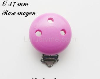 Clip / wooden pacifier Clip, Ø 37 mm from loop: medium pink