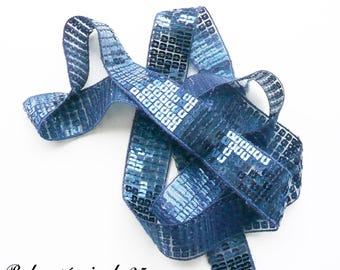 Ribbon / lace sequin glitter 25 mm, sold by 50 cm: Navy Blue