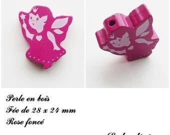 28 x 24 mm wooden bead, Pearl flat fairy: dark pink