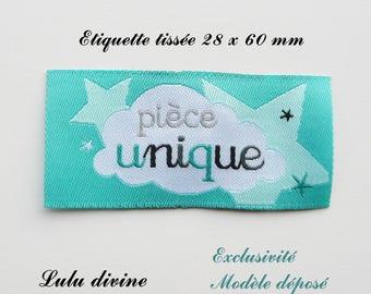 Woven label - unique - 28 x 60 mm, turquoise cloud