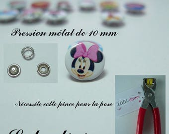 Set of 5 / 5 pressures metal 10 mm (20 pieces): white Minnie head