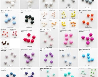 Bead 15 mm round silicone, silicone (set of 10)