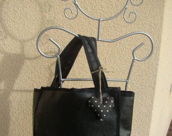 bag black faux leather lined fabric with white dots