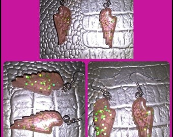 Pale pink translucent resin angel wing earrings