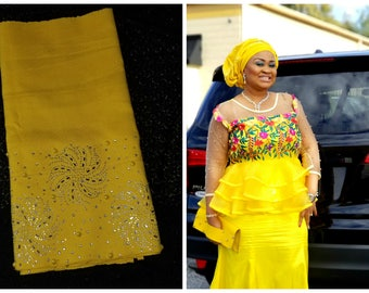 Luxury Aso Oke Gele / headwrap/ headgear/beaded stone and pearls with glitters
