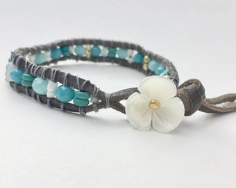 Chan Luu style leather wrap bracelet with flower button with turquoise beads