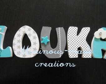 LOUKA custom wooden letters with name