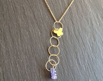 Necklace circles Butterfly blue tanzanite stones