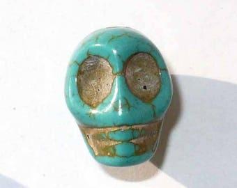 5 PNR32turquoise 18x17mm turquoise Howlite skull head beads