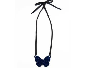 Midnight Blue Glitter Butterly necklace with satin ribbon