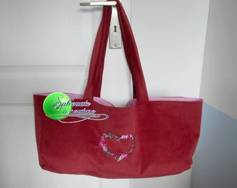 Knit or embroidered floral heart book bag
